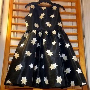Gymboree Traditions Fancy Black Gold Star Dress 12